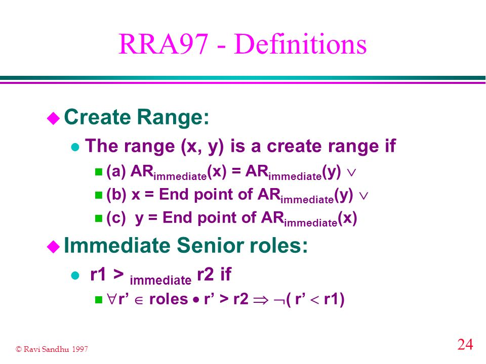 RRA97 - Definitions Create Range: Immediate Senior roles: