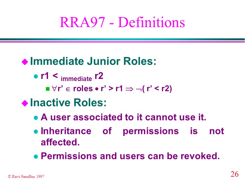 RRA97 - Definitions Immediate Junior Roles: Inactive Roles: