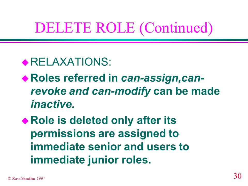DELETE ROLE (Continued)