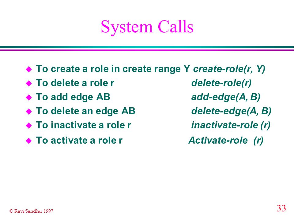 System Calls To create a role in create range Y create-role(r, Y)