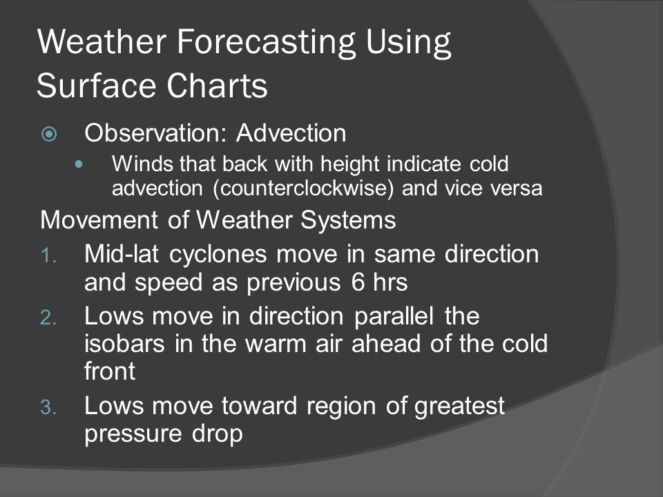 Weather Forecasting Using Surface Charts