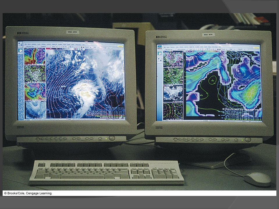 FIGURE 13.1 The AWIPS computer workstation provides various weather maps and overlays on different screens.