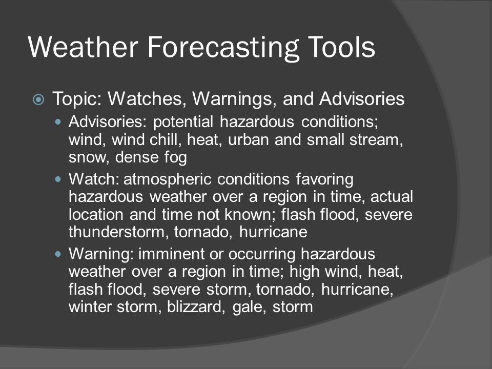 Weather Forecasting Tools
