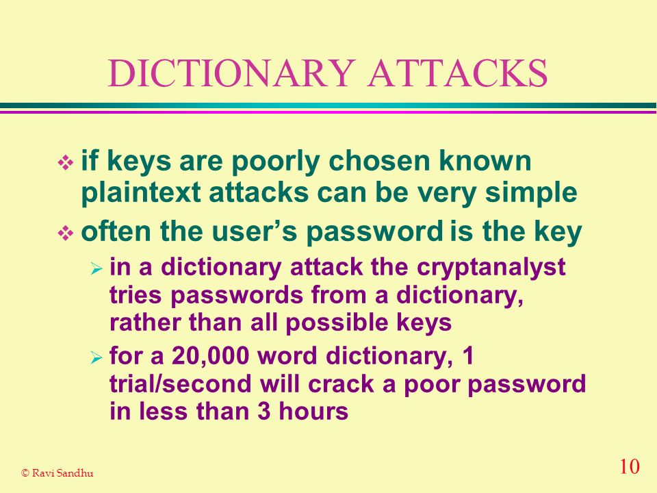 DICTIONARY ATTACKS if keys are poorly chosen known plaintext attacks can be very simple. often the user's password is the key.