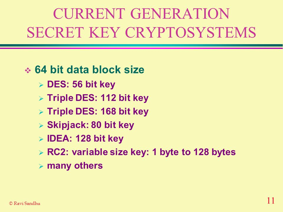 CURRENT GENERATION SECRET KEY CRYPTOSYSTEMS