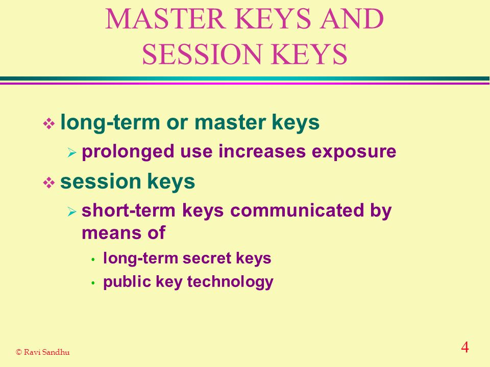 MASTER KEYS AND SESSION KEYS