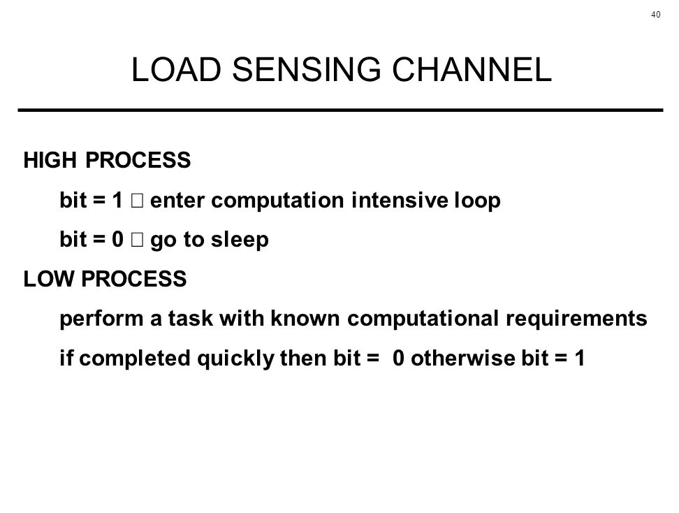 LOAD SENSING CHANNEL HIGH PROCESS