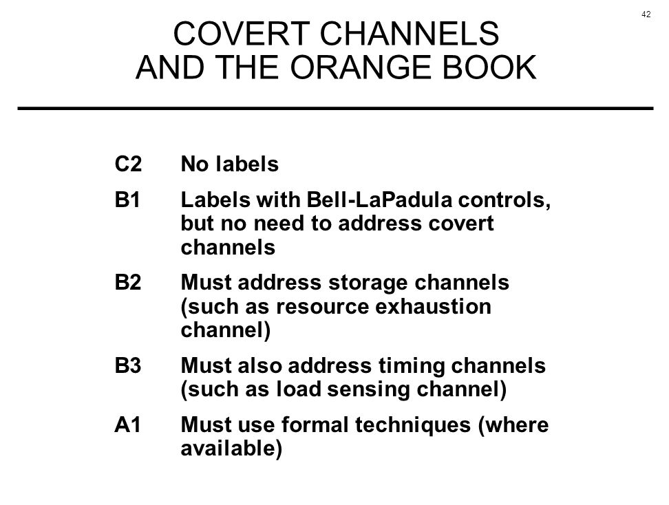 COVERT CHANNELS AND THE ORANGE BOOK
