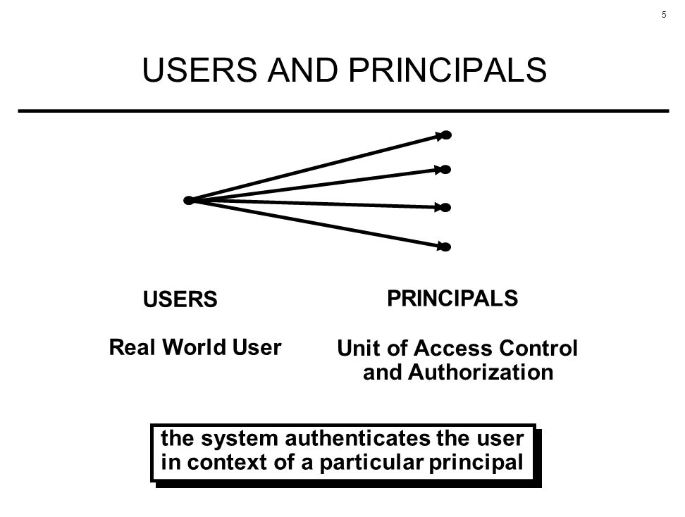 the system authenticates the user in context of a particular principal
