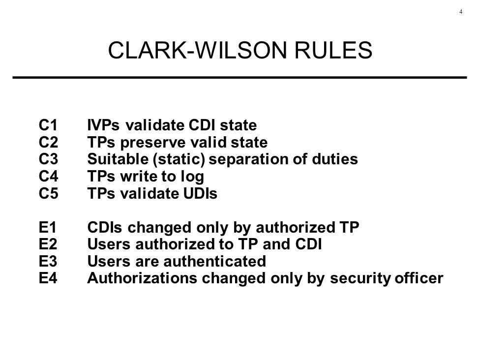 CLARK-WILSON RULES C1 IVPs validate CDI state