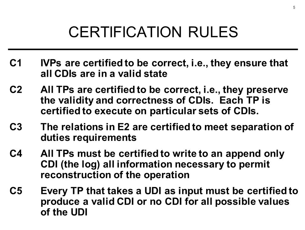 CERTIFICATION RULES C1 IVPs are certified to be correct, i.e., they ensure that all CDIs are in a valid state.