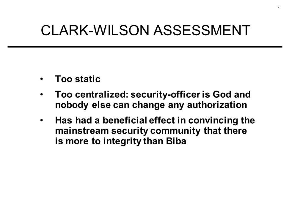 CLARK-WILSON ASSESSMENT