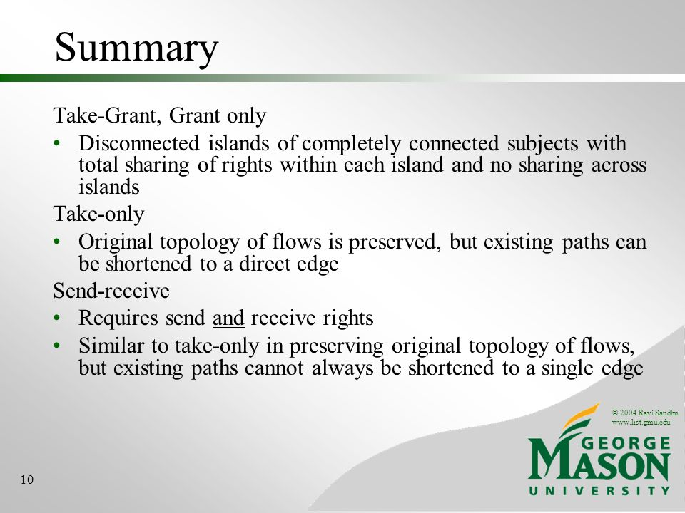 Summary Take-Grant, Grant only