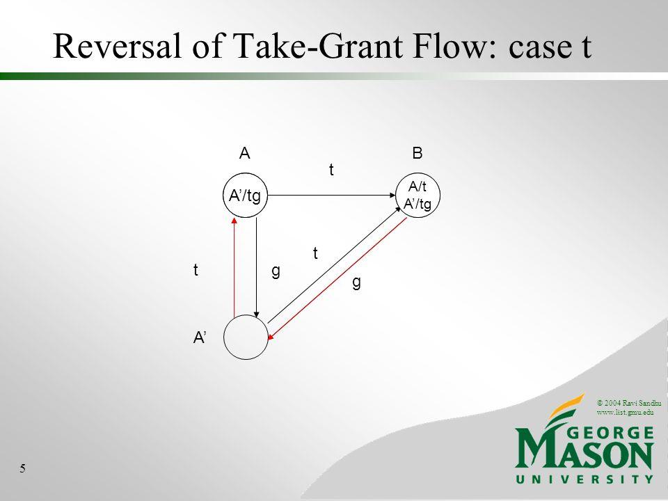 Reversal of Take-Grant Flow: case t