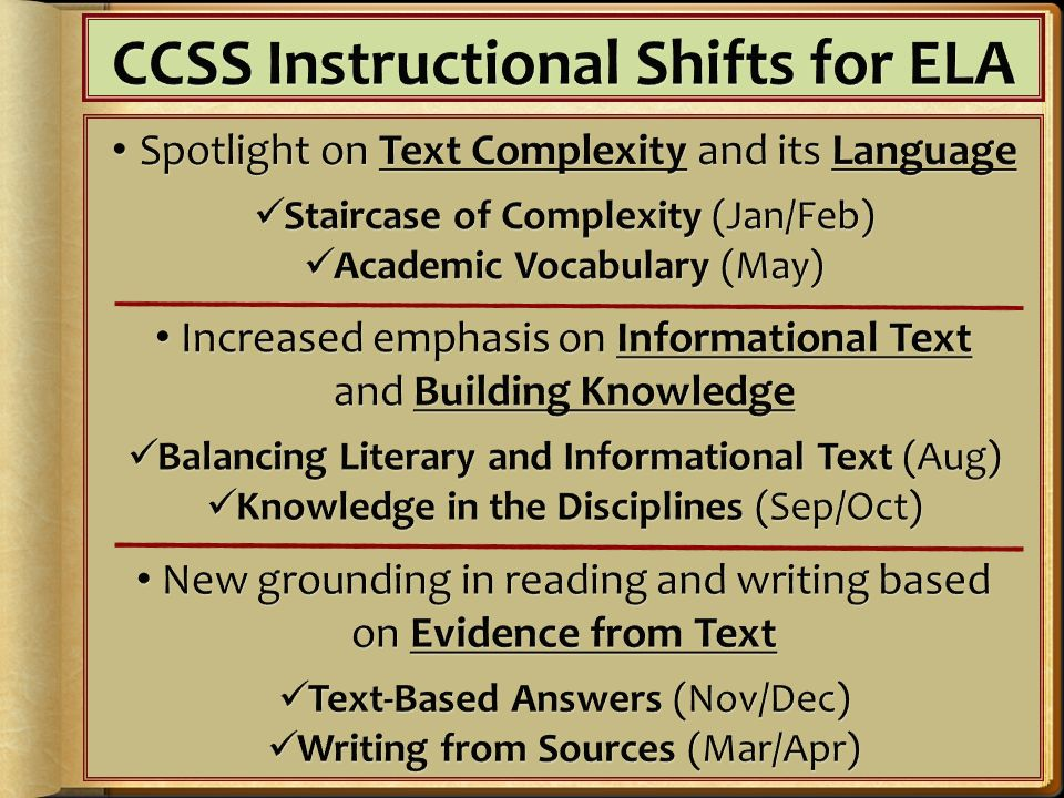 CCSS Instructional Shifts for ELA