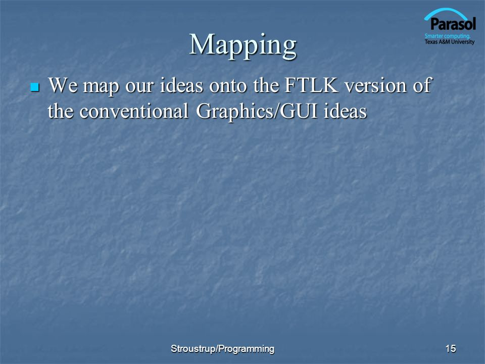 Mapping We map our ideas onto the FTLK version of the conventional Graphics/GUI ideas.