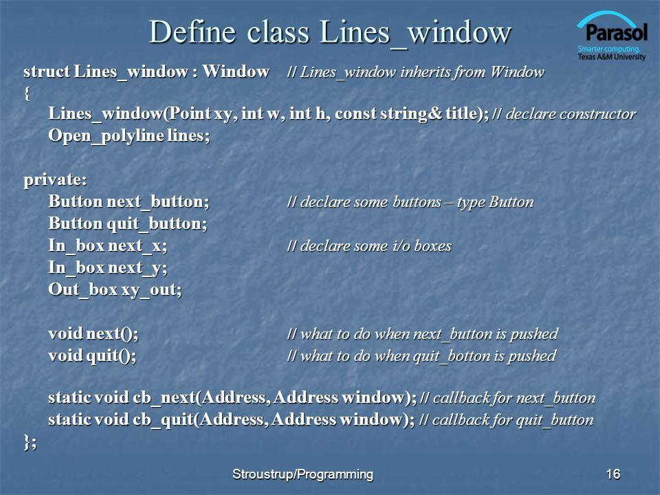 Define class Lines_window
