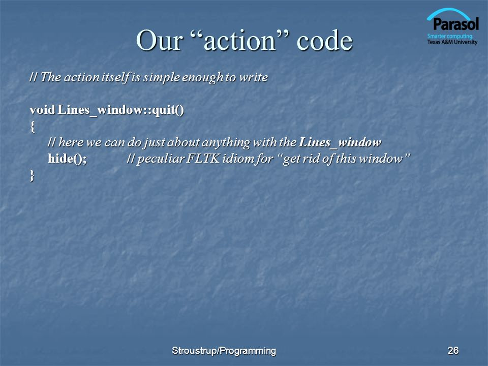 Our action code // The action itself is simple enough to write