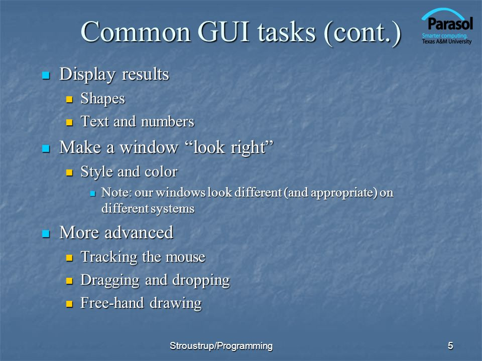 Common GUI tasks (cont.)