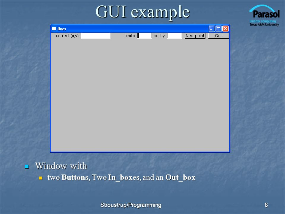 GUI example Window with two Buttons, Two In_boxes, and an Out_box