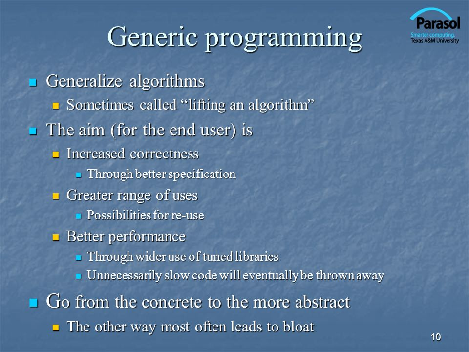 Generic programming Go from the concrete to the more abstract