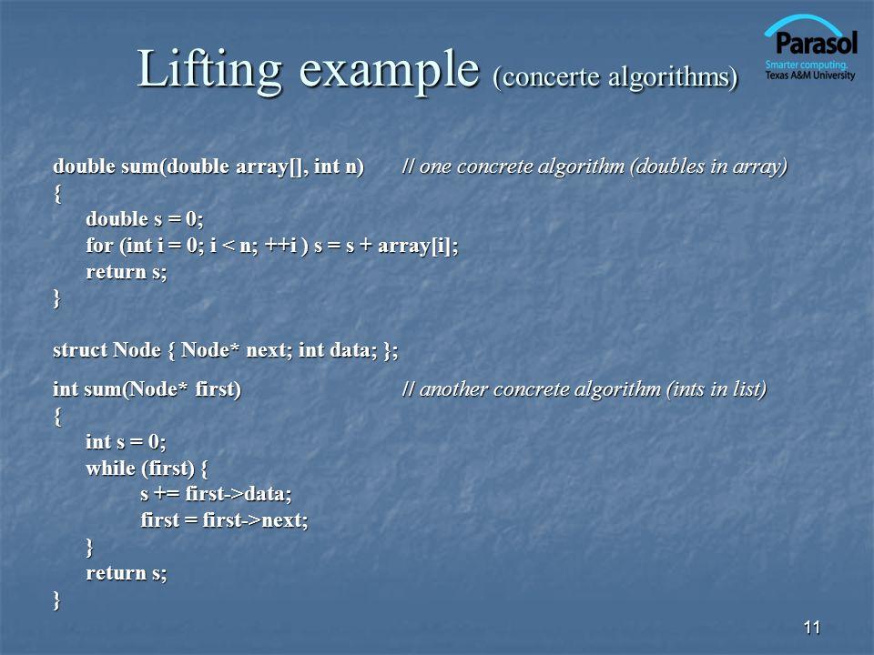Lifting example (concerte algorithms)