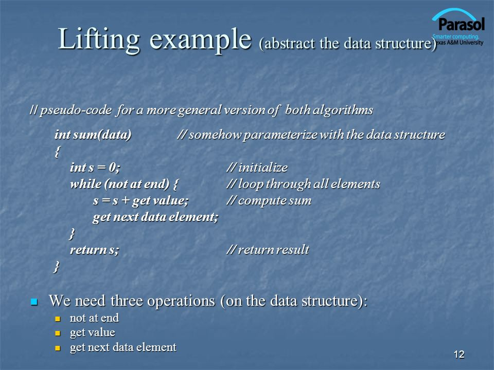 Lifting example (abstract the data structure)