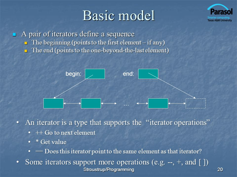 Basic model A pair of iterators define a sequence