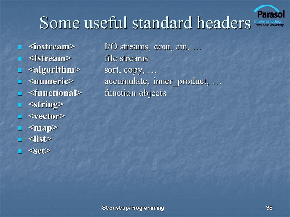 Some useful standard headers