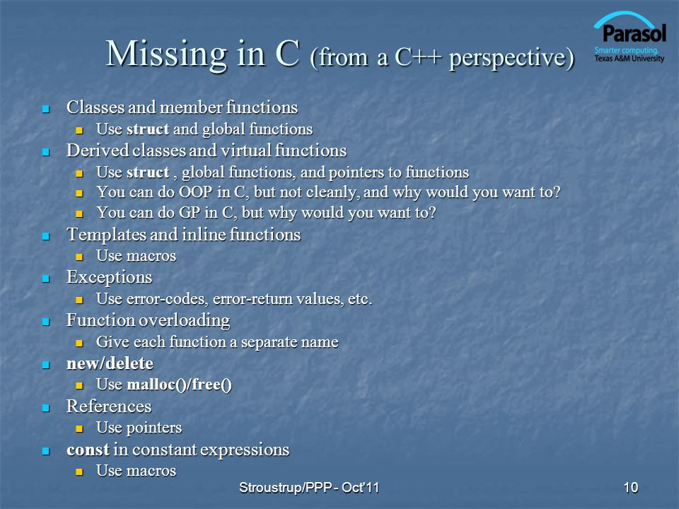 Missing in C (from a C++ perspective)