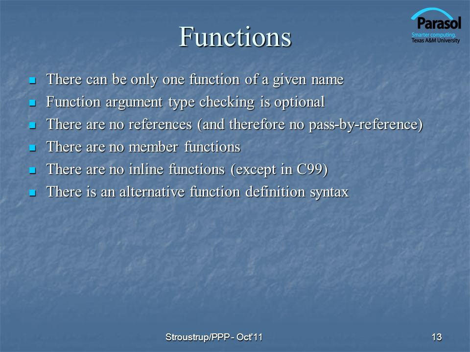Functions There can be only one function of a given name