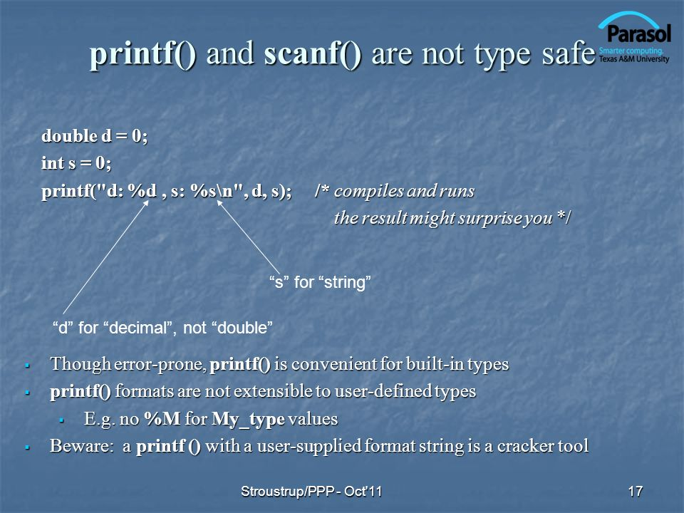 printf() and scanf() are not type safe