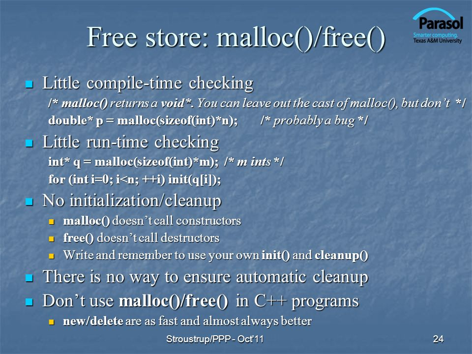 Free store: malloc()/free()