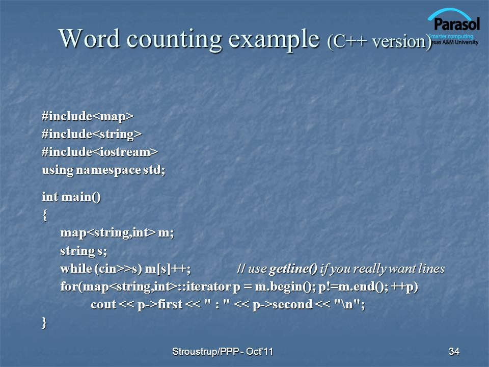 Word counting example (C++ version)