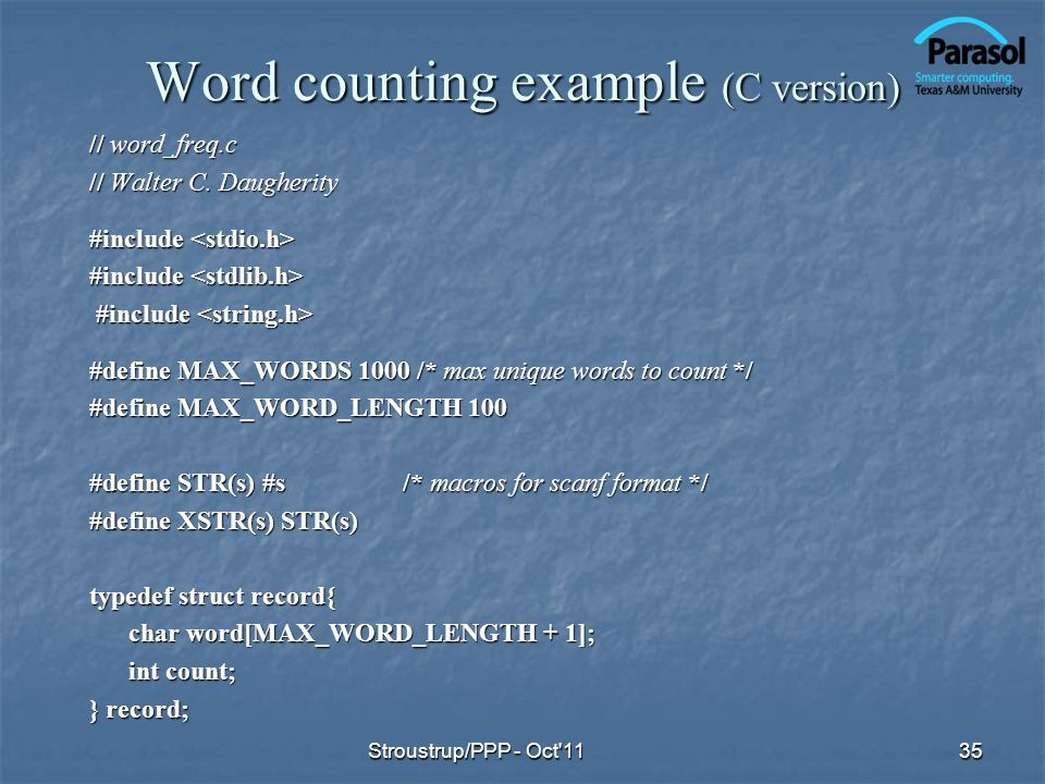 Word counting example (C version)