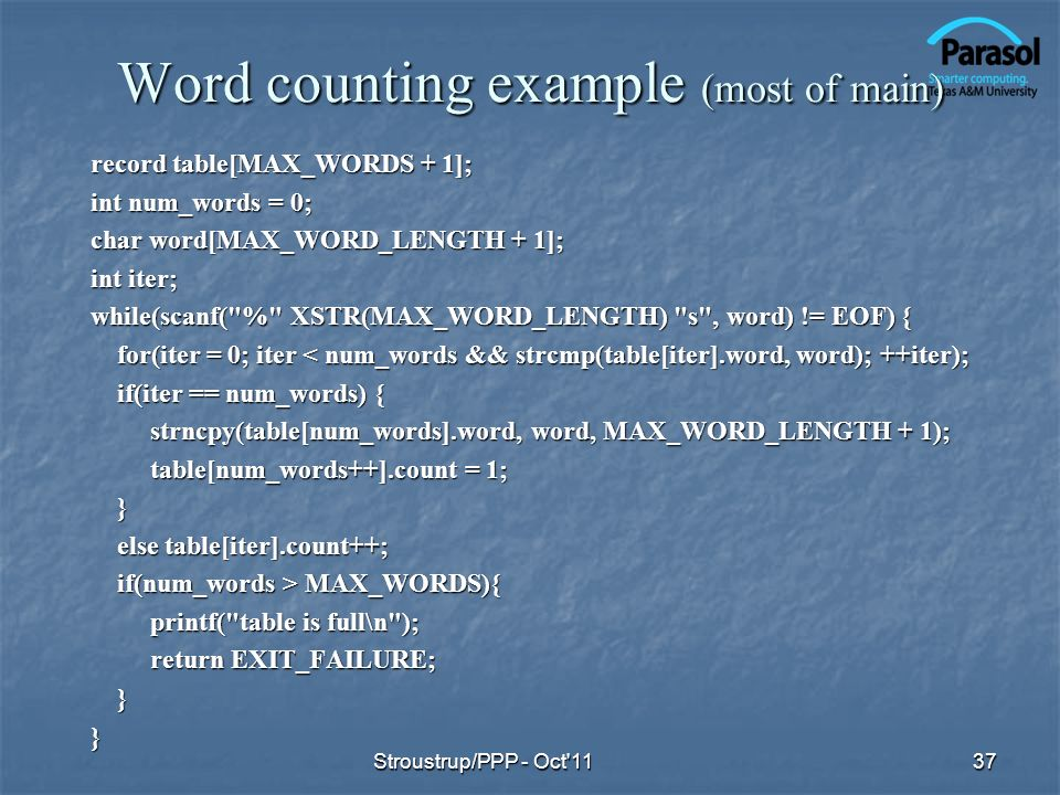 Word counting example (most of main)