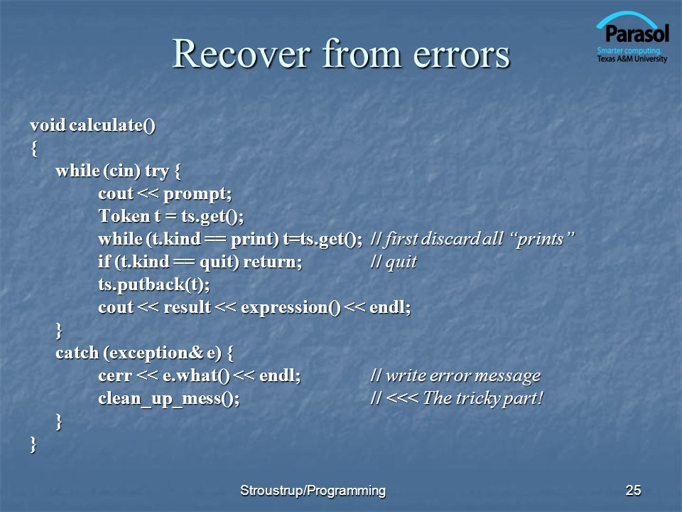 Recover from errors