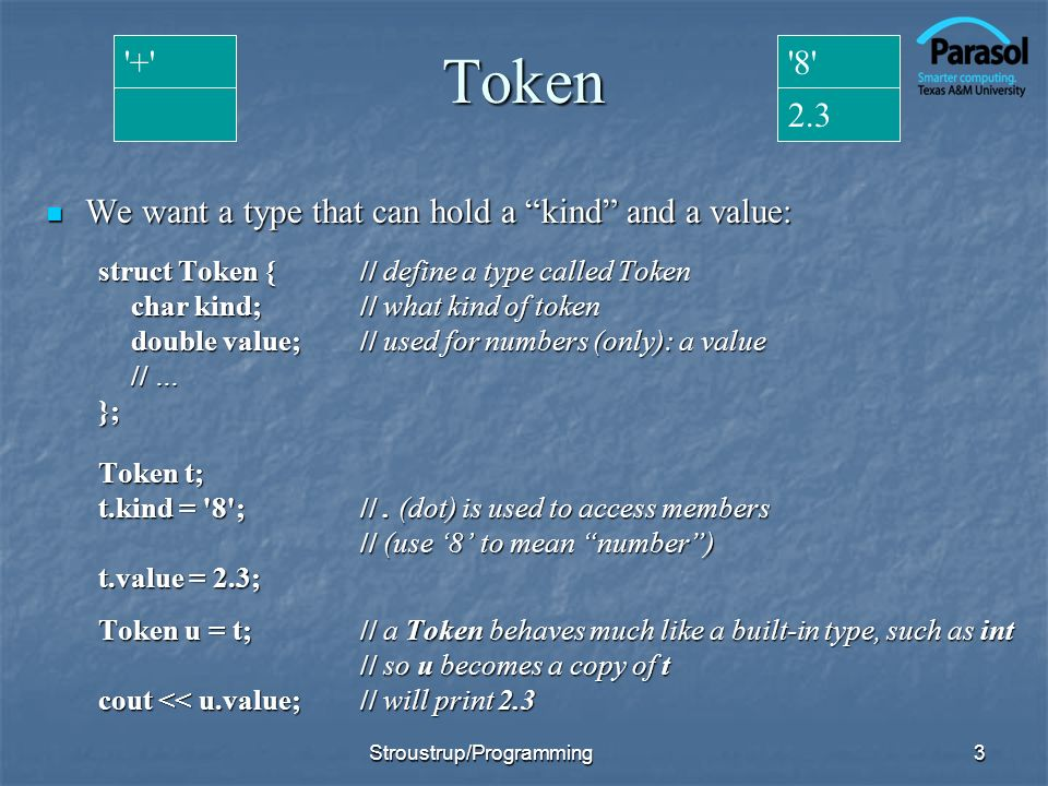 Token + 8 2.3 We want a type that can hold a kind and a value: