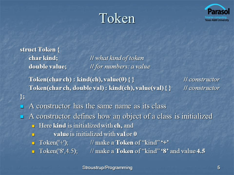 Token A constructor has the same name as its class