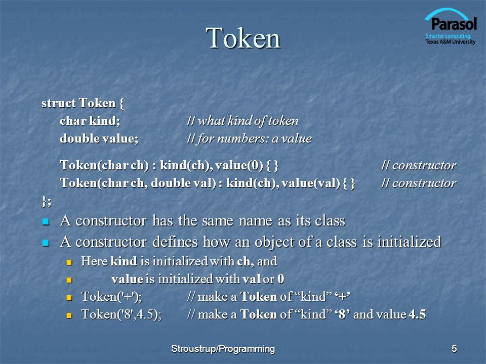 Token A constructor has the same name as its class