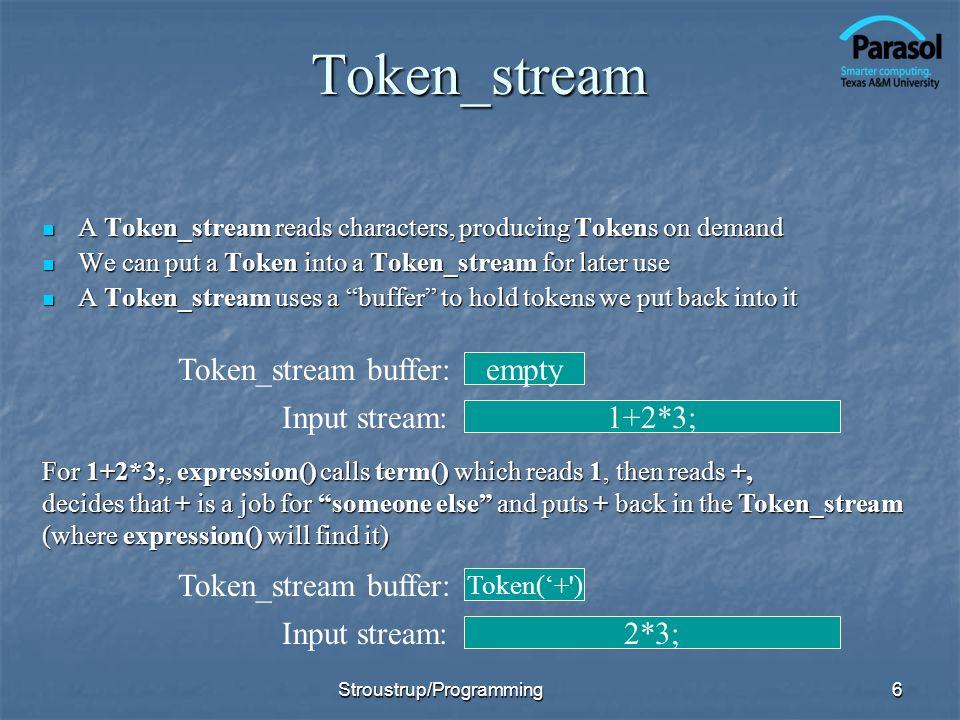 Token_stream Token_stream buffer: empty Input stream: 1+2*3;