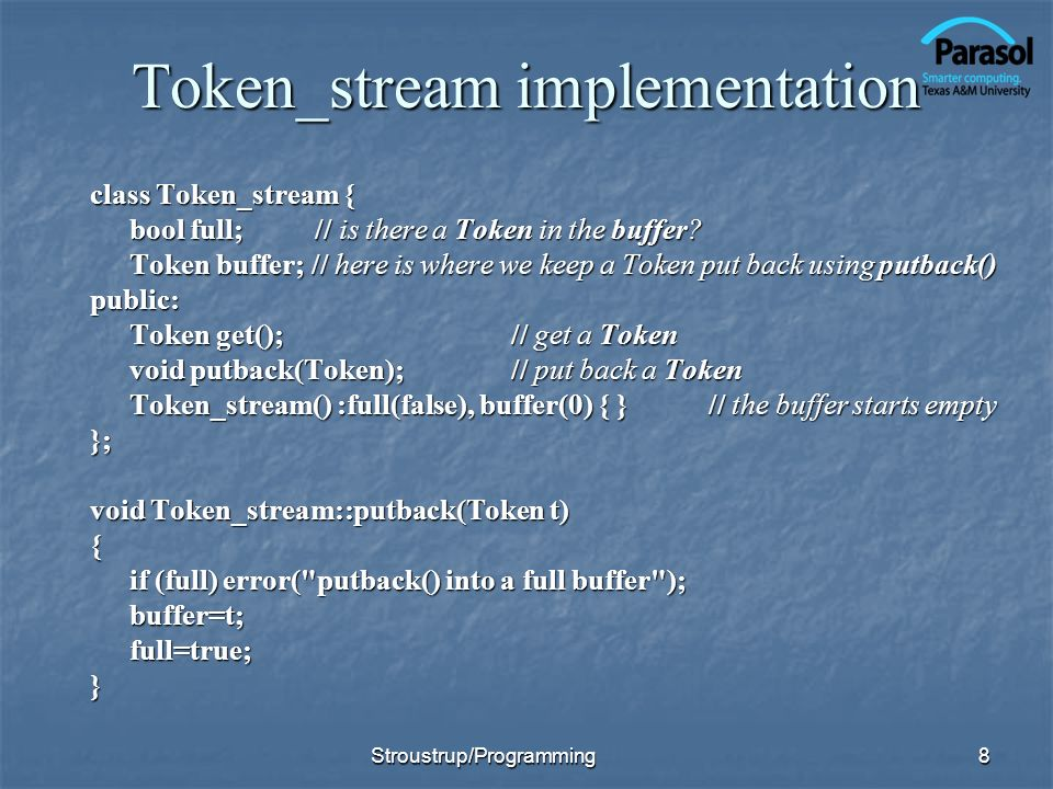 Token_stream implementation