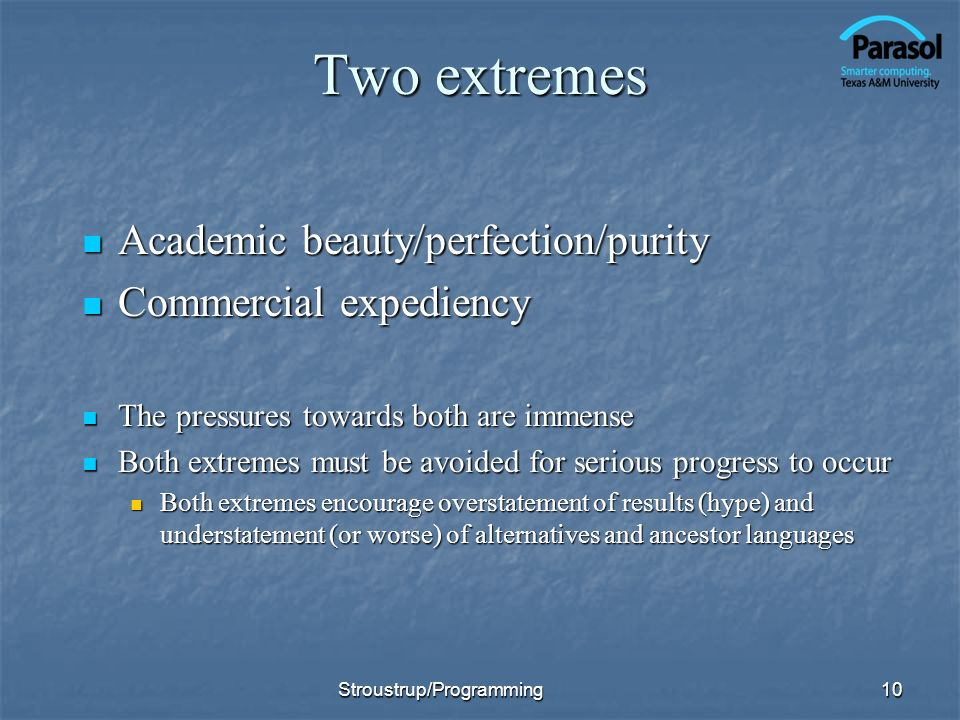 Two extremes Academic beauty/perfection/purity Commercial expediency