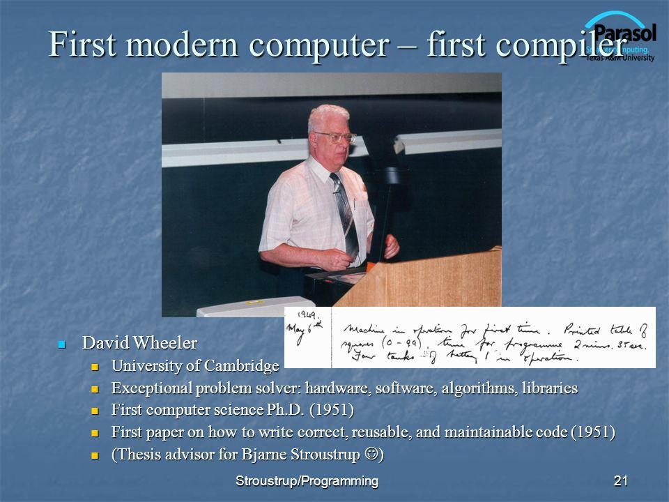 First modern computer – first compiler