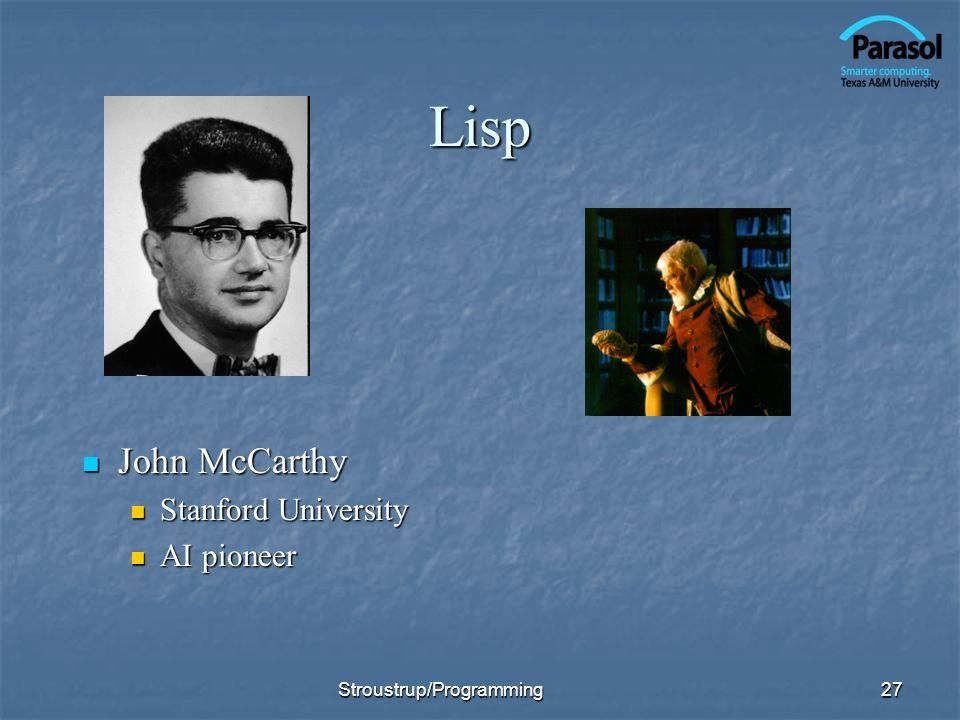 Lisp John McCarthy Stanford University AI pioneer