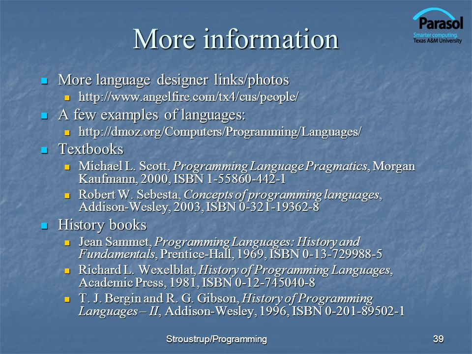 More information More language designer links/photos