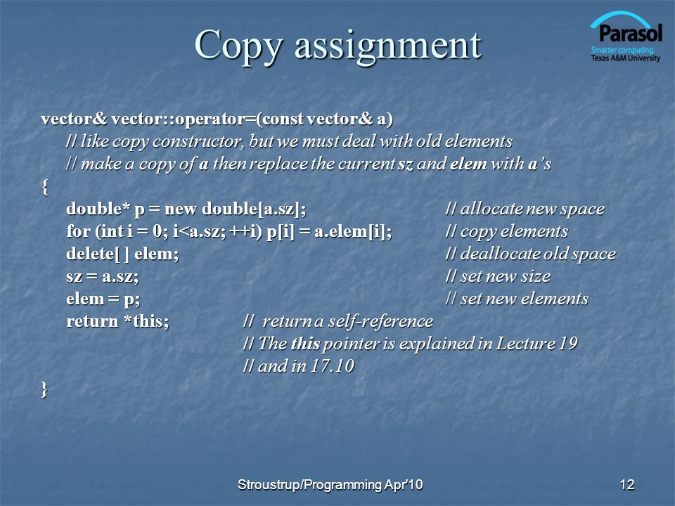 Copy assignment