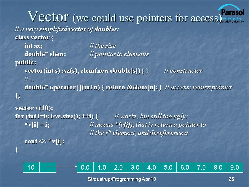 Vector (we could use pointers for access)