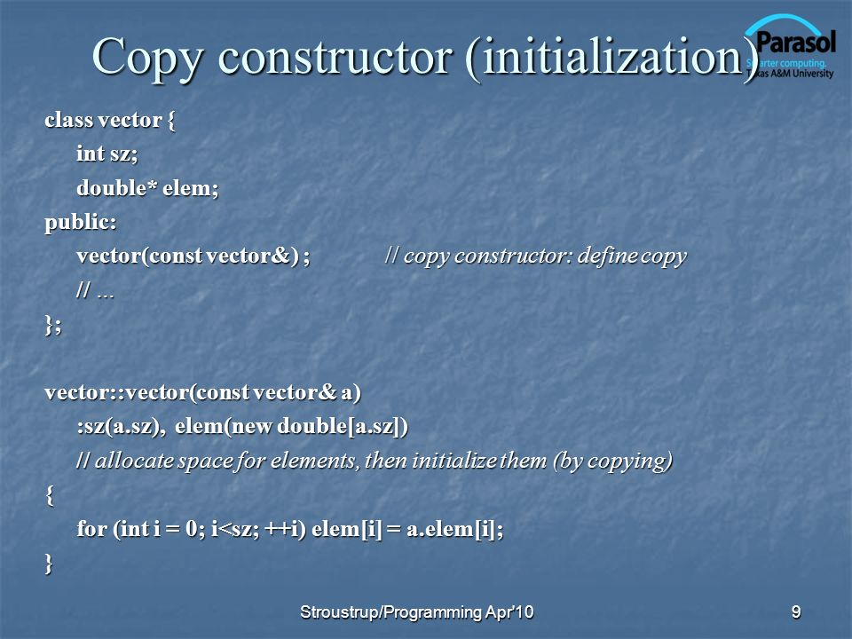 Copy constructor (initialization)