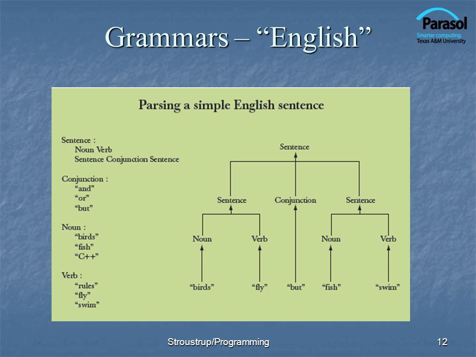 Grammars – English Stroustrup/Programming